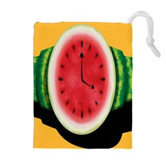 Watermelon Slice Red Orange Green Black Fruite Time Drawstring Pouches (Extra Large)