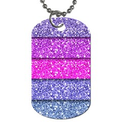 Violet Girly Glitter Pink Blue Dog Tag (Two Sides)