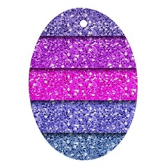 Violet Girly Glitter Pink Blue Oval Ornament (Two Sides)