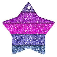 Violet Girly Glitter Pink Blue Star Ornament (Two Sides)