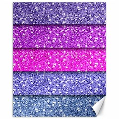 Violet Girly Glitter Pink Blue Canvas 11  x 14