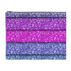 Violet Girly Glitter Pink Blue Cosmetic Bag (XL)