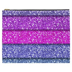 Violet Girly Glitter Pink Blue Cosmetic Bag (XXXL)