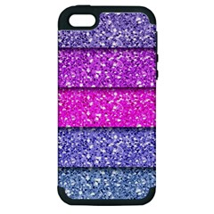 Violet Girly Glitter Pink Blue Apple iPhone 5 Hardshell Case (PC+Silicone)