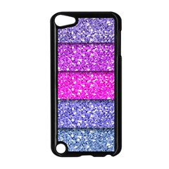 Violet Girly Glitter Pink Blue Apple iPod Touch 5 Case (Black)