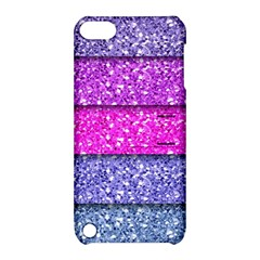 Violet Girly Glitter Pink Blue Apple iPod Touch 5 Hardshell Case with Stand