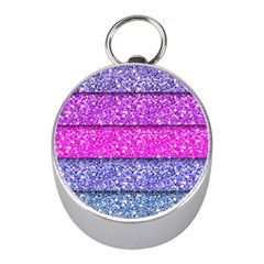 Violet Girly Glitter Pink Blue Mini Silver Compasses
