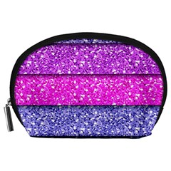 Violet Girly Glitter Pink Blue Accessory Pouches (Large)