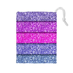 Violet Girly Glitter Pink Blue Drawstring Pouches (Large)