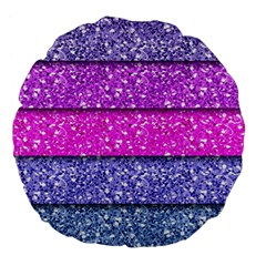 Violet Girly Glitter Pink Blue Large 18  Premium Flano Round Cushions