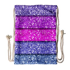 Violet Girly Glitter Pink Blue Drawstring Bag (Large)