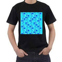 Vertical Floral Rose Flower Blue Men s T-Shirt (Black) (Two Sided)
