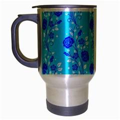 Vertical Floral Rose Flower Blue Travel Mug (Silver Gray)