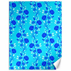 Vertical Floral Rose Flower Blue Canvas 18  x 24