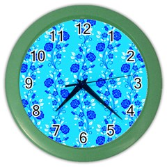 Vertical Floral Rose Flower Blue Color Wall Clocks