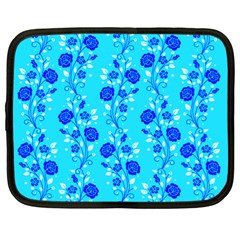 Vertical Floral Rose Flower Blue Netbook Case (XL)