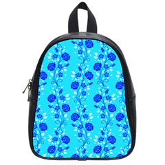 Vertical Floral Rose Flower Blue School Bags (Small)