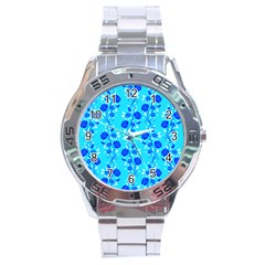 Vertical Floral Rose Flower Blue Stainless Steel Analogue Watch
