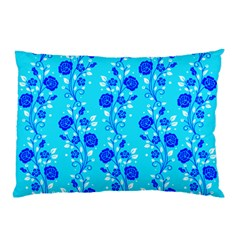 Vertical Floral Rose Flower Blue Pillow Case (Two Sides)