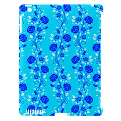 Vertical Floral Rose Flower Blue Apple iPad 3/4 Hardshell Case (Compatible with Smart Cover)