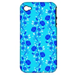 Vertical Floral Rose Flower Blue Apple Iphone 4/4s Hardshell Case (pc+silicone)