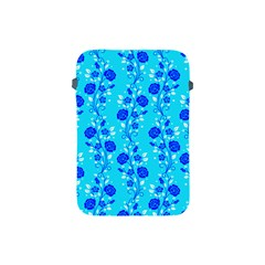 Vertical Floral Rose Flower Blue Apple iPad Mini Protective Soft Cases