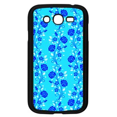 Vertical Floral Rose Flower Blue Samsung Galaxy Grand DUOS I9082 Case (Black)