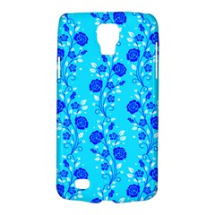 Vertical Floral Rose Flower Blue Galaxy S4 Active