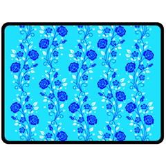 Vertical Floral Rose Flower Blue Double Sided Fleece Blanket (Large)