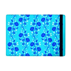 Vertical Floral Rose Flower Blue iPad Mini 2 Flip Cases