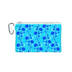 Vertical Floral Rose Flower Blue Canvas Cosmetic Bag (S)