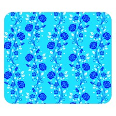 Vertical Floral Rose Flower Blue Double Sided Flano Blanket (Small)