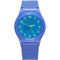 Whirlpool Hole Wave Blue Waves Sea Round Plastic Sport Watch (S)