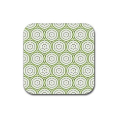 Wood Star Green Circle Rubber Square Coaster (4 pack)