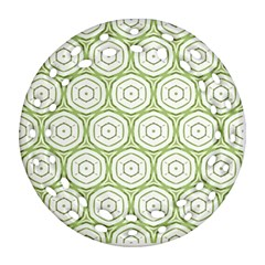 Wood Star Green Circle Round Filigree Ornament (Two Sides)