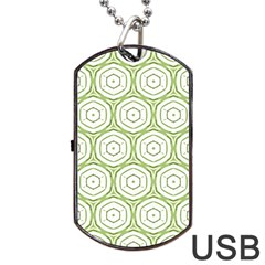 Wood Star Green Circle Dog Tag USB Flash (One Side)