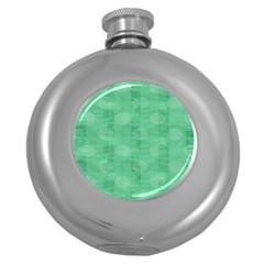Polka Dot Scrapbook Paper Digital Green Round Hip Flask (5 oz)