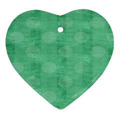 Polka Dot Scrapbook Paper Digital Green Heart Ornament (Two Sides)