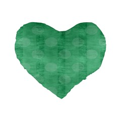Polka Dot Scrapbook Paper Digital Green Standard 16  Premium Heart Shape Cushions