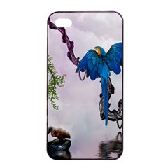 Wonderful Blue Parrot In A Fantasy World Apple iPhone 4/4s Seamless Case (Black)