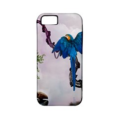Wonderful Blue Parrot In A Fantasy World Apple iPhone 5 Classic Hardshell Case (PC+Silicone)