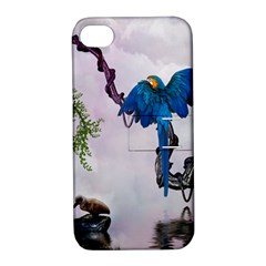 Wonderful Blue Parrot In A Fantasy World Apple iPhone 4/4S Hardshell Case with Stand