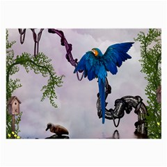 Wonderful Blue Parrot In A Fantasy World Large Glasses Cloth