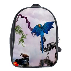 Wonderful Blue Parrot In A Fantasy World School Bags(Large)