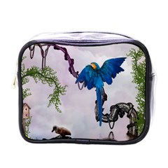 Wonderful Blue Parrot In A Fantasy World Mini Toiletries Bags