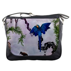 Wonderful Blue Parrot In A Fantasy World Messenger Bags