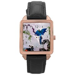 Wonderful Blue Parrot In A Fantasy World Rose Gold Leather Watch