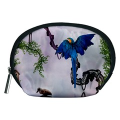 Wonderful Blue Parrot In A Fantasy World Accessory Pouches (Medium)