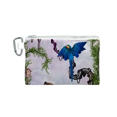 Wonderful Blue Parrot In A Fantasy World Canvas Cosmetic Bag (S)