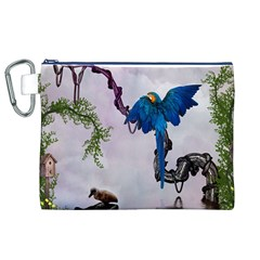 Wonderful Blue Parrot In A Fantasy World Canvas Cosmetic Bag (XL)